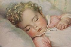 "Annie Benson Muller Lithograph Framed ""Just a little Dream"" Vintage. Vintage Ads, Vintage Prints, Vintage Images, Nursery Pictures, Baby Pictures, Image Painting, Magazines For Kids, Illustrations, Baby Illustration"