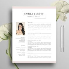 Modern Resume Template, Cover Letter, US Letter, A4, Word, CV Template, Mac, Creative Resume, Professional Resume, Instant Download, Camilla