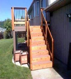 Custom deck stairs by Skyline Deck & Construction. Deck Construction, Deck Stairs, Custom Decks, Covered Decks, Pergola, Skyline, Outdoor Decor, Deck Steps, Arbors
