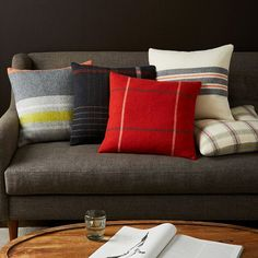 Faribault Large Stripe Wool Pillow Covers