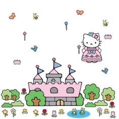 Hello Kitty Princess Castle Peel & Stick Giant Wall Decal - Kids get to choose decoration placements