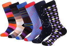 Mio Marino Marino Mens Dress Socks - Fun Colorful Socks for Men - Cotton Funky Socks - 6 Pack, Men's, Size: 13 - Multi-color Funky Socks, Colorful Socks, Multi Coloured Socks, Mens Novelty Socks, Avenue Dresses, Patterned Socks, Designer Socks, Dress Socks, Fashion Socks