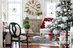 Christmas decor -- dramatic paper lanterns decorate the tree