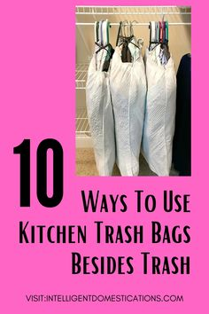 A list of clever ways to use kitchen trash bags to organize and make certain household tasks easier. With a few of these ideas you can still use the bag for trash afterwards. #householdhacks #homehacks Home Organization Hacks, Organizing, Residential Cleaning, Packing To Move, Speed Cleaning, Sell Your House Fast, Painted Trays, Cleaning Business, Trash Bag