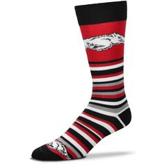 For Bare Feet University of Arkansas Lotta Stripe Thin Knee High Dress Socks (Red Medium, Size One Size) - NCAA Licensed Product, NCAA Novelty at A...