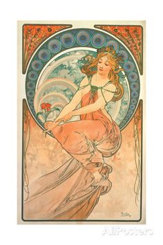The Arts: Painting, 1898 Gicléedruk van Alphonse Marie Mucha bij AllPosters.nl
