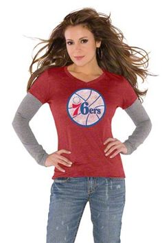 Philadelphia 76ers Red Womens Primary Logo Tri Blend Long ...
