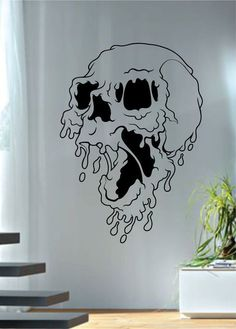 Utilize These Suggestions To Assure An Incredible Experience drawing Melting Skull Art Decal Sticker Wall Vinyl Cool Art Drawings, Easy Drawings, Art Sketches, Simple Skull Drawing, Doodle Art Drawing, Drawing On Wall, Drawing Designs, Art To Draw, Doodle Art Simple