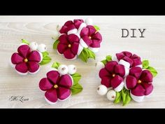 Лепестки Канзаши из Ленты 2 5 см / How to Make Petals Kanzashi / DIY New kanzashi petals flowers - YouTube