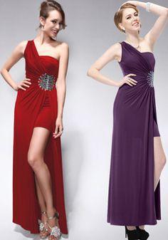 Sheath/ Column Ankle Length One Shoulder Asymmetric Waist Chiffon Evening Gowns With Side Slit - 1300305949B - US$209.99 - BellasDress