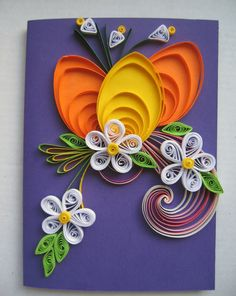 Handmade Easter Greeting Card - Colorful Quilling Card - Easter Card - Holiday Card with Quilling Egg, Flowers for family friend Co-worker Arte Quilling, Quilling Paper Craft, Quilling Patterns, Quilling Designs, Origami, Easter Greeting Cards, Easter Card, Quilled Creations, Paper Cards