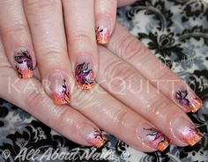 Orange and Pink!  Summer is here... with some beautiful free hand art painted on top, done at www.allaboutnails.org