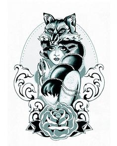 """Wonbeauty Halloween temporary tattoos for men and women beautiful wolf lady with black and white flower fake realistic tattoo stickers. Tattoo size: 8.66""""*4.72"""". Safe and non-toxic design ideal for body art. Professional grade made to last 3 to 5 days and easily transferred by water. Perfect for vacations, girls night, pool parties, bachelorette parties, or any other event you want to look glamorous."""