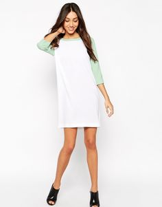 One Fashion By Vero Moda   One Fashion By Vero Moda Scuba Shift Dress With Contrast Sleeve at ASOS