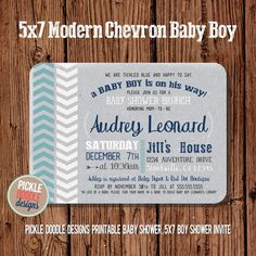 Gray Navy Chevron Baby Boy Shower by pickledoodledesigns on Etsy, $16.00