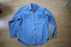 Vintage Ralph Lauren Denim GI Shirt // Men's Long Sleeve Button Up Chambray Shirt // Indigo Chambray Men's Shirt // Size Large RL Polo qeNh5aRO2R