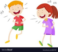 Happy boy and girl laughing Royalty Free Vector Image Kids Vector, Free Vector Images, Vector Free, Flashcard, Adverbs, Happy Boy, Big Picture, Laughing, Dental