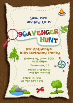 Scavenger Hunt - Birthday Party Invitations                              …