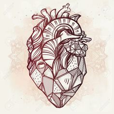 Heart Of Stone, Highly Detailed Vintage Style Hand Drawn Line.. Royalty Free Cliparts, Vectors, And Stock Illustration. Image 46340640.