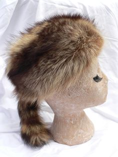 DAVY CROCKETT RACCOON Tail Fur Hat Halloween by HousewifeVintage, $29.00