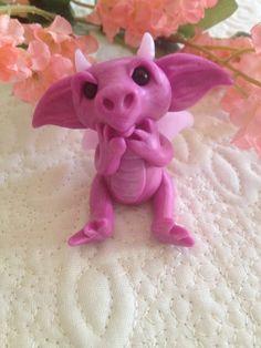 Baby Dragon Pink Polymer Clay Figurine