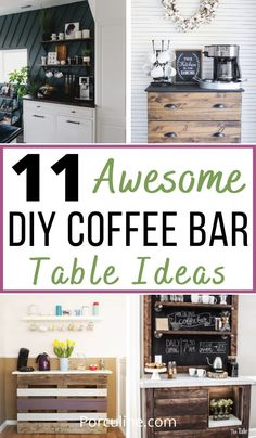 11 Of the best DIY coffee bars you can easily make at home!! From farmhouse coffee bars to a unique bar cart, you'll get some inspiration from these best DIY coffee bar table ideas right now! #DIYcoffeebar #coffeebarideas #coffeebar #coffeestation Coffee Bar Home, Coffee Bars, Woodworking Projects, Diy Projects, Diy Bar Cart, Diy Table, Bar Ideas, Furniture Makeover, Painted Furniture
