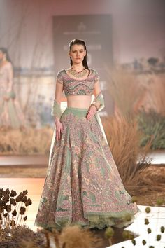 Pastel Green Color Designer Wedding Lehenga Online from India Couture Week For more details please contact us through WhatsApp Wedding Lehenga Online, Indian Wedding Gowns, Indian Gowns Dresses, Indian Bridal Outfits, Indian Fashion Dresses, Indian Designer Outfits, Pakistani Clothing, Indian Designers, Wedding Dresses