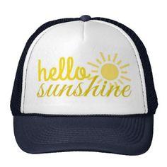 Shop Hello Sunshine Women's Trucker Summer Hat created by seasidepapercompany. Snapback Hats, Trucker Hats, Summer Hats, Summer Fun, Hello Sunshine, Custom Hats, Caps Hats, Hats For Women, Baseball Hats