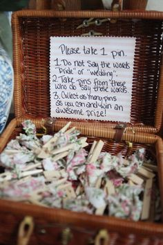 "Bridal shower game... ""Don't say these words""- instead of pins could also use rings, bracelets, etc."