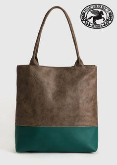Shopper B-color Figus handmade taupe-verde dollaro