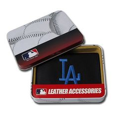 Los Angeles Dodgers Embroidered Leather Tri-Fold Wallet by Caseys. $34.95. Brand New Officially Licensed!!. Another Awesome Sports Collectible from Timeless Sports. A perfect gift for yourself or your favorite sports fan! The team's logo is embroidered onto the front of the wallet. The wallet is made of genuine leather and will last for years! Inside you'll find a compartment for cash, 6 slots for cards, a slot for your drivers license, 3 inner compartments, and a removabl...
