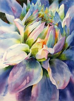 I absolutely love this watercolor by Susan Crouch. I am always attracted to a floral composition that brings you up close to the flower. The colors are just beautiful and the wet-on-wet technique blends those colors so well.