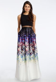 Floral Print Illusion Two-Piece Dress #camillelavie #CLVprom