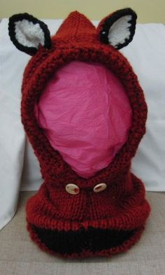 Fox Cowl Hood Hand Knitted in Super Chunky Yarn, Childrens Accessories…