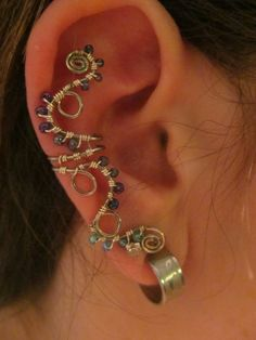 Blue & Purple Beaded Silver Wire CurlyQ Ear Cuff  by TheHempChick, $12.00