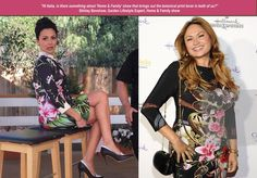 "BOTANICAL PRINTS ARE HOT! Home & Family inspires a trend.  Italia Ricci, guest co-host on Hallmark channel, ""Home & Family"" and Shirley Bovshow, Garden Lifestyle Expert for Home & Family at Crown Media TCA event."