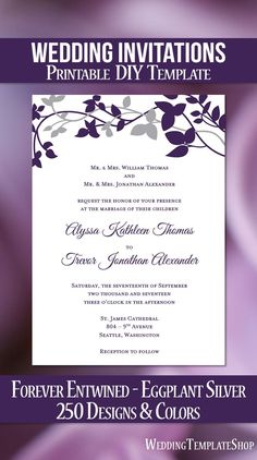 Printable Wedding Invitations, DIY Templates, Purple, Eggplant, Silver.