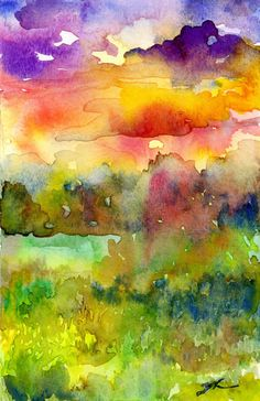 Original Watercolour Landscape painting Sunset por patriciastudio