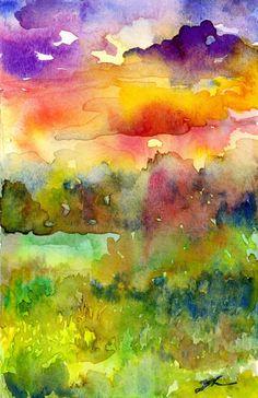 Watercolour Landscape painting - Sunset Sky
