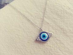 evil eye necklace in silver by LemonTreeLand on Etsy, $17.00