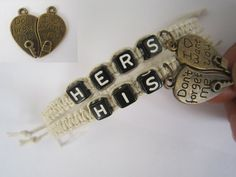 Couples Bracelets Set His and Hers Bracelet Key Lock by LDnest, $15.99
