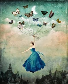 """Leaving Wonderland"" by Christian Schloe - Buy ""Leaving Wonderland"" as Poster by Christian Schloe and many more photos, posters and art prints on ARTFLAKES. Butterfly Art, Butterfly Painting, Butterfly Balloons, Madame Butterfly, Pop Surrealism, Fine Art, Surreal Art, Art Plastique, Fantasy Art"