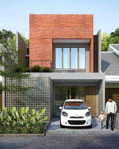 Minimal House Design, Modern Small House Design, Modern Exterior House Designs, House Front Design, Exterior Design, Modern Brick House, Narrow House Designs, House Construction Plan, Townhouse Designs
