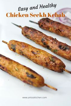Chicken seekh kebab (chicken kabobs) is easy to make at home without using a grill in 30 mins. It is a healthy dinner recipe using the chicken and spices. Best Indian Chicken Recipe, Easy Indian Recipes, Kerala Recipes, Cooking Fails, Cooking Recipes, Cooking Rice, Meat Recipes, Salad Recipes, Cooking Blogs