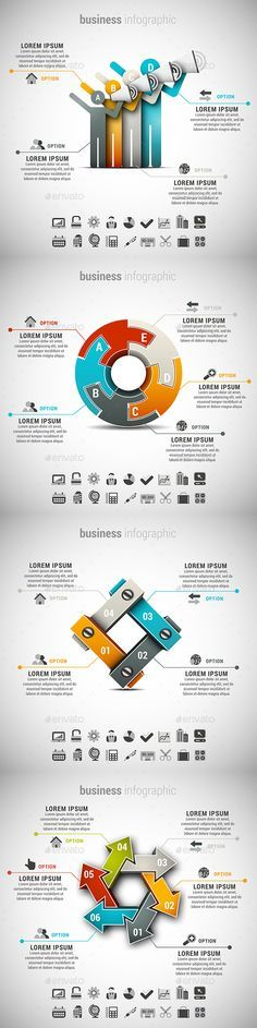 4 in 1 Business Infographics Template Bundle. Download here: http://graphicriver.net/item/4-in-1-business-infographics-bundle/15071066?ref=ksioks