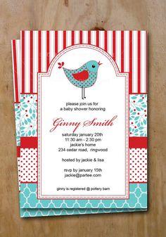 Baby Shower Invite Red and Blue Printable Birthday Invitation Ginny 3