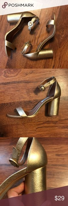 Steve Madden Gold Heeled Sandal I'm selling these gorgeous chunky heeled Steve Madden sandals! I love the shoes but my foot is very narrow and the shoe is a bit wide for me. They are a gorgeous gold color and have about a 3 inch heel. I never wore these more than around the house! Steve Madden Shoes Heels
