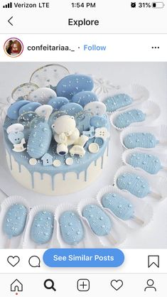Cake Frosting Designs, Oreo Cake Pops, Magnum Paleta, Blue Desserts, Baby Shower Cake Pops, Baby Birthday Cakes, Party Sweets, Diy Cake, Creative Cakes