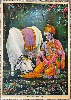 Krishna Pooja 10''x14'' 1950s - India Hindu Gods VINTAGE PRINT