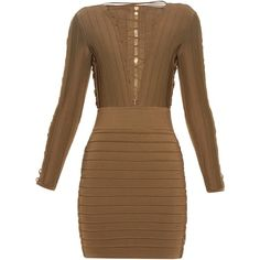 Balmain Lace-up bandage mini dress (53 880 ZAR) ❤ liked on Polyvore featuring dresses, balmain, brown, kleider, short bandage dress, sexy brown dress, sleeve dress, sexy short dresses and mini dress